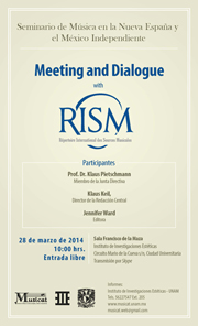 Meeting and Dialogue with RISM – Répertoire International des Sources Musicales.